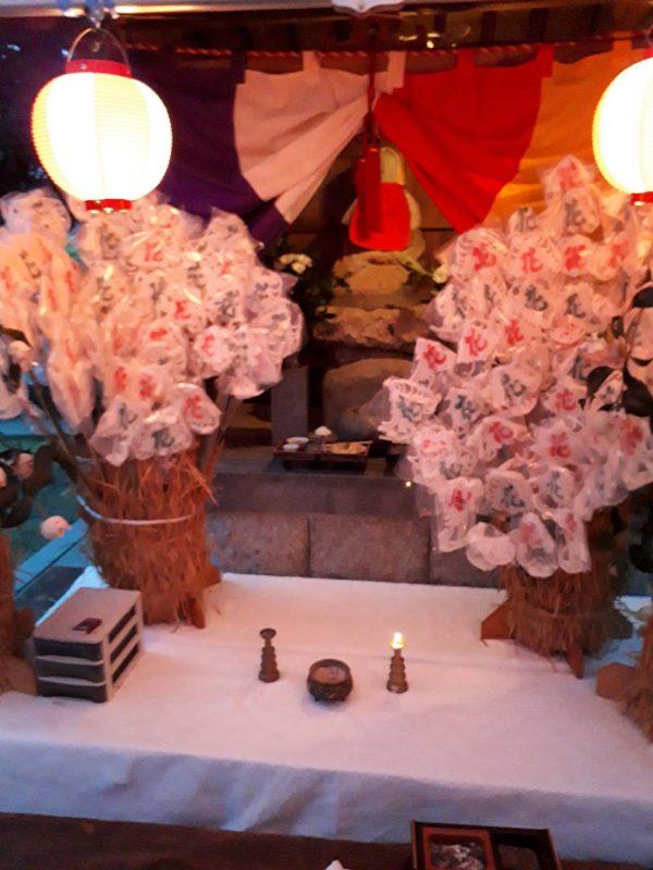 地蔵盆で伝統の花だんご