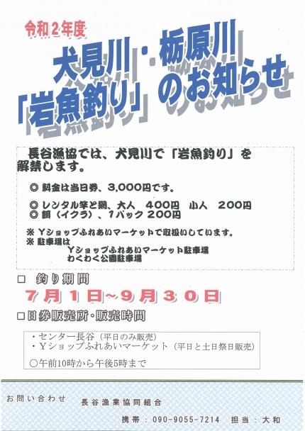 (令和2年度)大見川・栃原川 「岩魚釣り」のお知らせ